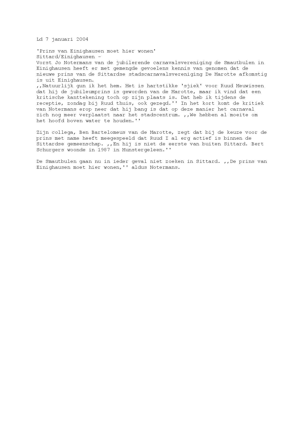 Krantenknipsel Prins Ruud van de Marotte