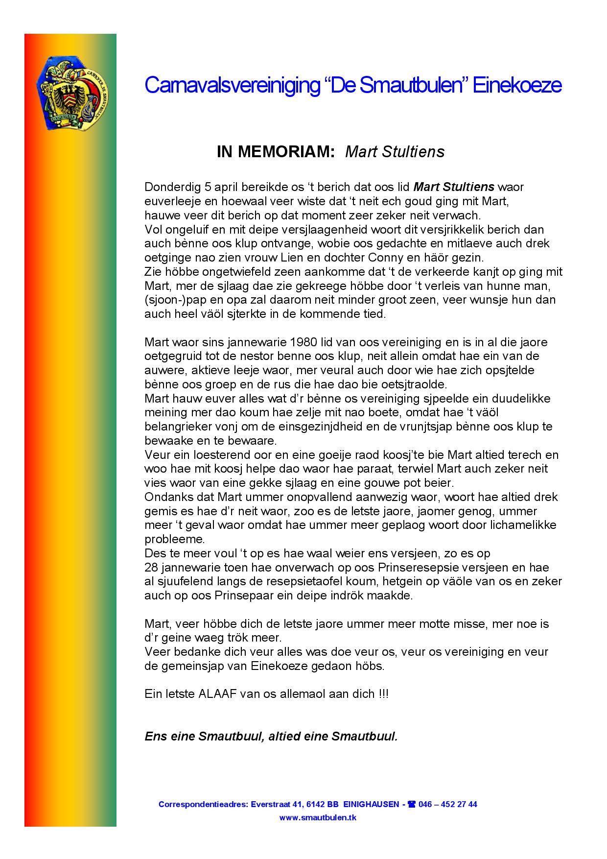 Herinneringsbrief Mart Stultiens
