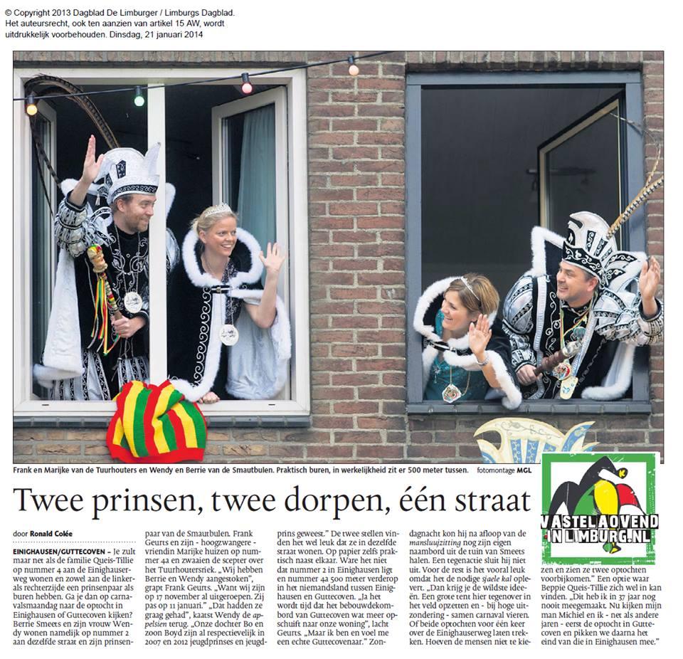 dagblad Limburger 21012014 artikeln 2 prinsen in de straat (berrie en wendy)